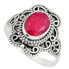 3.02cts natural red ruby 925 sterling silver solitaire ring size 8.5 r26965