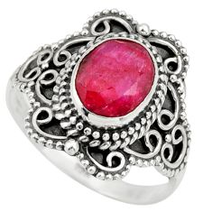 3.02cts natural red ruby 925 sterling silver solitaire ring size 7.5 r26966