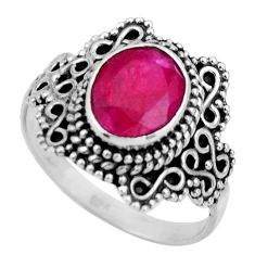 3.01cts natural red ruby 925 sterling silver solitaire ring size 7.5 r26986