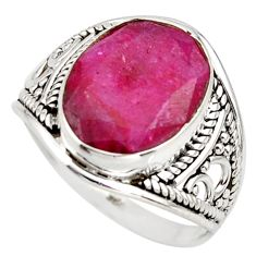 5.90cts natural red ruby 925 sterling silver solitaire ring size 7.5 r35343