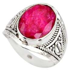 5.84cts natural red ruby 925 sterling silver solitaire ring size 7.5 r35367