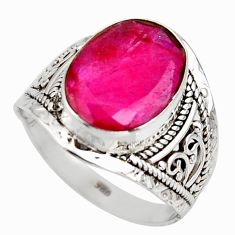6.03cts natural red ruby 925 sterling silver solitaire ring size 8.5 r35392