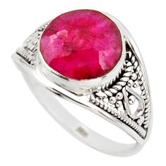 5.22cts natural red ruby 925 sterling silver solitaire ring size 8.5 r35430