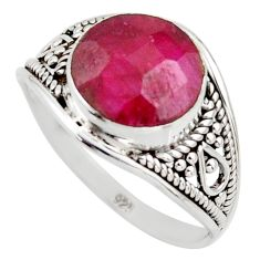 4.85cts natural red ruby 925 sterling silver solitaire ring size 8.5 r35431