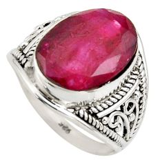 6.04cts natural red ruby 925 sterling silver solitaire ring size 6.5 r35466