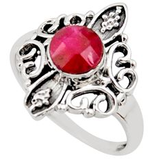 1.08cts natural red ruby 925 sterling silver solitaire ring size 5.5 r35915