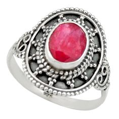 3.02cts natural red ruby 925 sterling silver solitaire ring size 8.5 r40462