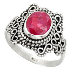 3.18cts natural red ruby 925 sterling silver solitaire ring size 8.5 r40491