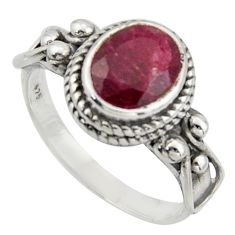 3.39cts natural red ruby 925 sterling silver solitaire ring size 8.5 r40988