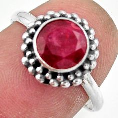2.61cts natural red ruby 925 sterling silver solitaire ring size 7.5 r41386