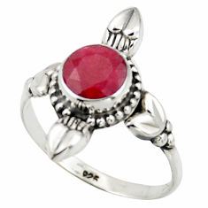 2.72cts natural red ruby 925 sterling silver solitaire ring size 8.5 r41429