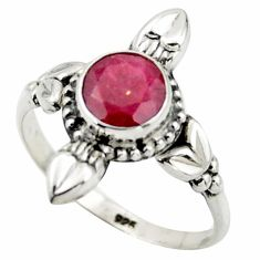 2.60cts natural red ruby 925 sterling silver solitaire ring size 8.5 r41431