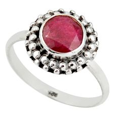 2.49cts natural red ruby 925 sterling silver solitaire ring size 7.5 r41443