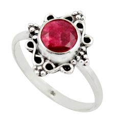 2.82cts natural red ruby 925 sterling silver solitaire ring size 8.5 r41483