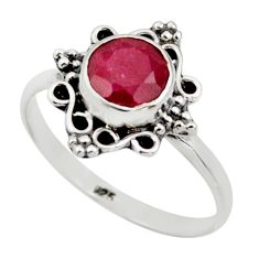 2.50cts natural red ruby 925 sterling silver solitaire ring size 8.5 r41484