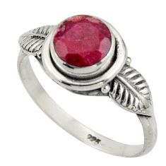 2.57cts natural red ruby 925 sterling silver solitaire ring size 8.5 r41506