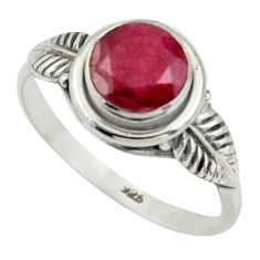 2.36cts natural red ruby 925 sterling silver solitaire ring size 8.5 r41507