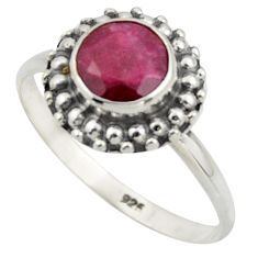 2.50cts natural red ruby 925 sterling silver solitaire ring size 8.5 r41567