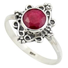 2.56cts natural red ruby 925 sterling silver solitaire ring size 8.5 r41568