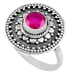 0.90cts natural red ruby 925 sterling silver solitaire ring size 7.5 r54373