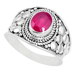 2.01cts natural red ruby 925 sterling silver solitaire ring size 7.5 r69141
