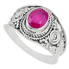 1.99cts natural red ruby 925 sterling silver solitaire ring size 9.5 r69147