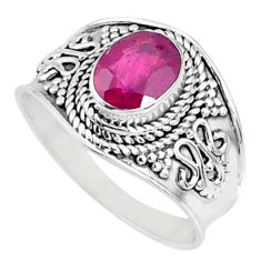 1.99cts natural red ruby 925 sterling silver solitaire ring size 8.5 r69149
