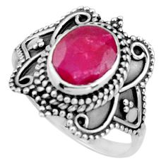 3.50cts natural red ruby 925 sterling silver solitaire ring size 7 r26781