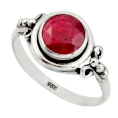 2.60cts natural red ruby 925 sterling silver solitaire ring size 7 r41368