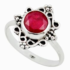 2.37cts natural red ruby 925 sterling silver solitaire ring size 7 r41482