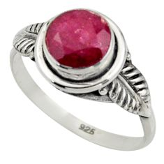 2.52cts natural red ruby 925 sterling silver solitaire ring size 7 r41508