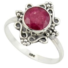 2.60cts natural red ruby 925 sterling silver solitaire ring size 7 r41569