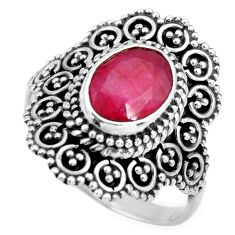 3.23cts natural red ruby 925 sterling silver solitaire ring size 8 r26927