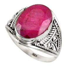 6.38cts natural red ruby 925 sterling silver solitaire ring size 8 r35467