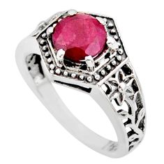 2.32cts natural red ruby 925 sterling silver solitaire ring size 8 r35950
