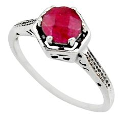 1.34cts natural red ruby 925 sterling silver solitaire ring size 8 r35952