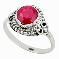 2.42cts natural red ruby 925 sterling silver solitaire ring size 8 r41408