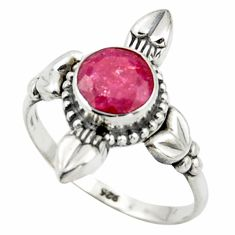 2.49cts natural red ruby 925 sterling silver solitaire ring size 8 r41430