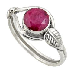 2.42cts natural red ruby 925 sterling silver solitaire ring size 8 r41530