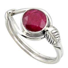 2.42cts natural red ruby 925 sterling silver solitaire ring size 8 r41531