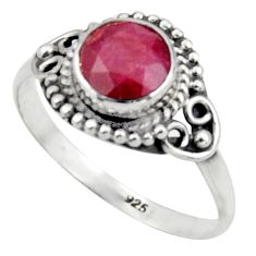 2.66cts natural red ruby 925 sterling silver solitaire ring size 8 r41628