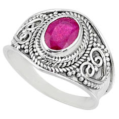 2.01cts natural red ruby 925 sterling silver solitaire ring size 8 r69143