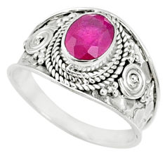 2.14cts natural red ruby 925 sterling silver solitaire ring size 8 r69159