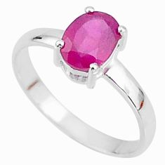 2.18cts natural red ruby 925 sterling silver solitaire ring size 8 t7292