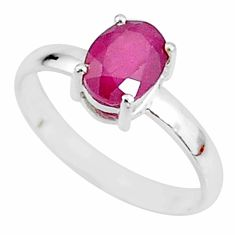 2.22cts natural red ruby 925 sterling silver solitaire ring size 8 t7293