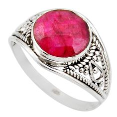 4.83cts natural red ruby 925 sterling silver solitaire ring size 9 r35429