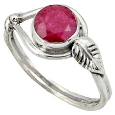 2.42cts natural red ruby 925 sterling silver solitaire ring size 9 r41529