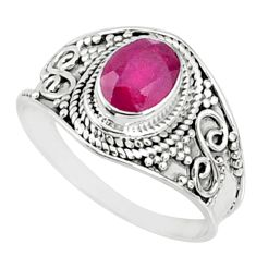 1.81cts natural red ruby 925 sterling silver solitaire ring size 9 r69158