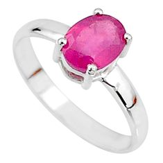2.23cts natural red ruby 925 sterling silver solitaire ring size 7.5 t7294