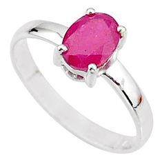 2.03cts natural red ruby 925 sterling silver solitaire ring size 7.5 t7297